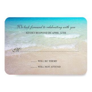 Cartões de resposta simples do casamento de praia convite personalizado