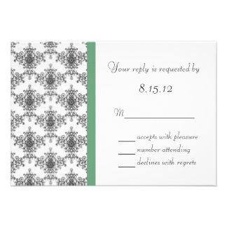 Cartões de resposta verdes brancos pretos do casam convite personalizados