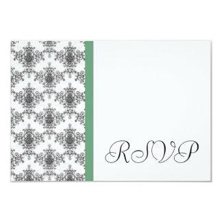 Cartões de resposta verdes brancos pretos do convite 8.89 x 12.7cm