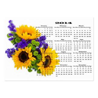 cartões de visitas 2014 do calendário do girassol