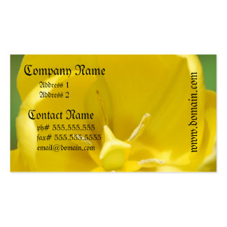 Cartões de visitas amarelos bonito da tulipa