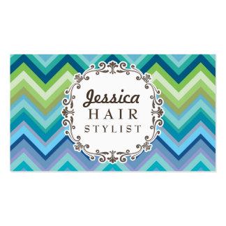 Cartões de visitas azuis do cabeleireiro do teste