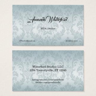 Cartões de visitas azuis do damasco da cor de água