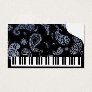 Cartões de visitas azuis do piano de Paisley