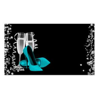 Cartões de visitas azuis dos calçados do salto alt