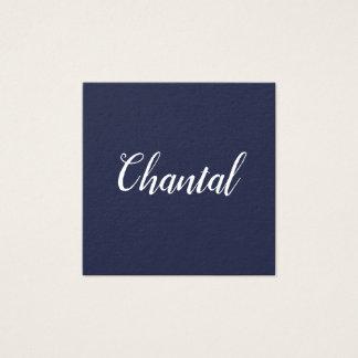 Cartões de visitas azuis minimalistas escritos à