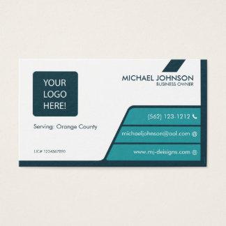 Cartões de visitas azuis & verdes escuro da