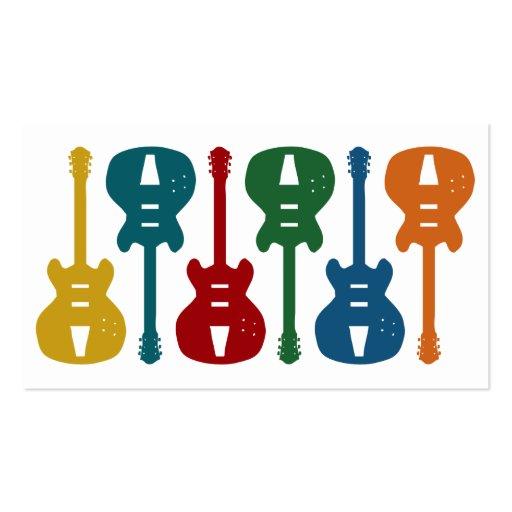 Cartões de visitas bonitos coloridos da guitarra