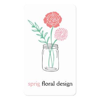 Cartões de visitas botânicos do frasco de pedreiro