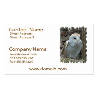 Cartões de visitas brancos da coruja de celeiro