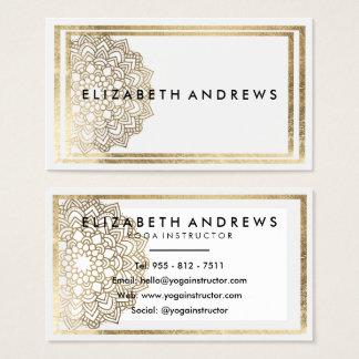 Cartões de visitas brancos elegantes da mandala do