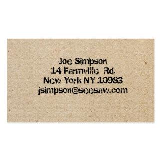 cartões de visitas carimbados tinta
