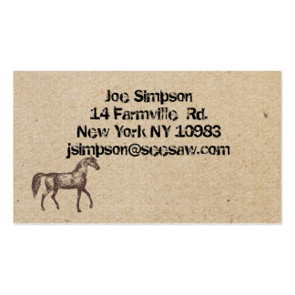 cartões de visitas carimbados tinta do cavalo