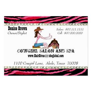 Cartões de visitas carnudos da vaqueira do salão