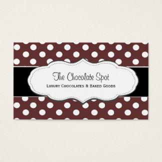 Cartões de visitas castanho chocolate das bolinhas