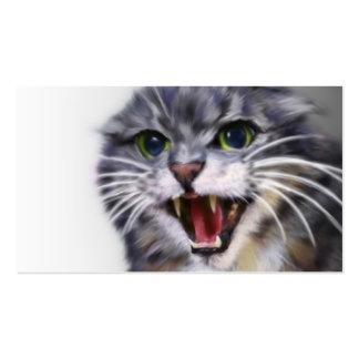 Cartões de visitas cinzentos loucos do gato