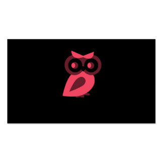 Cartões de visitas cor-de-rosa da coruja