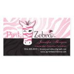 Cartões de visitas cor-de-rosa da zebra