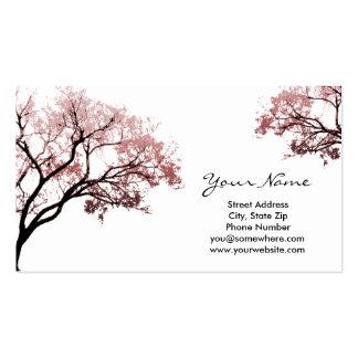 Cartões de visitas cor-de-rosa das árvores