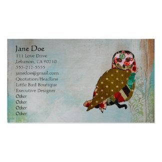 Cartões de visitas cor-de-rosa de Boho da coruja