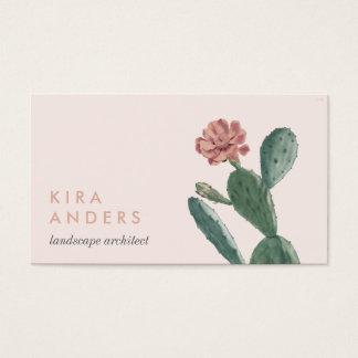 Cartões de visitas cor-de-rosa do cacto do vintage