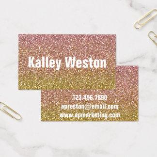 Cartões de visitas cor-de-rosa do ouro e do brilho