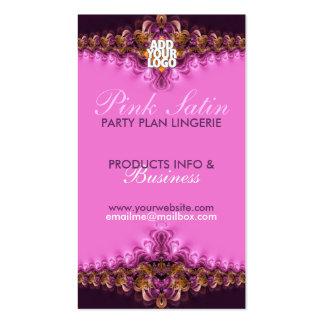 Cartões de visitas cor-de-rosa do partido da linge