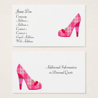 Cartões de visitas cor-de-rosa femininos da xadrez