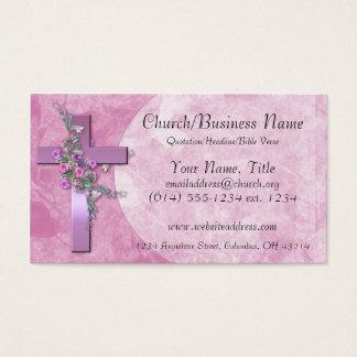 Cartões de visitas: Cruz roxa com flores