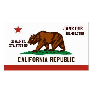 Cartões de visitas da bandeira do estado de Califó