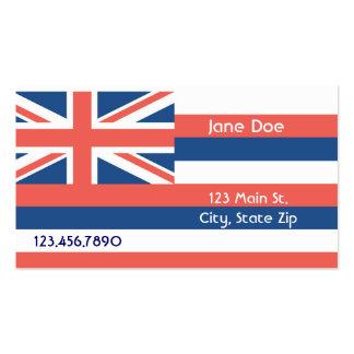 Cartões de visitas da bandeira do estado de Havaí