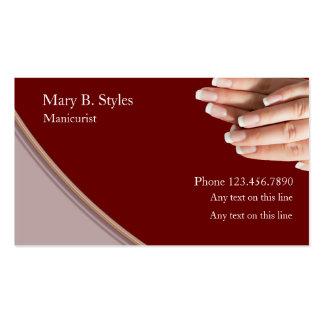 Cartões de visitas da beleza das unhas