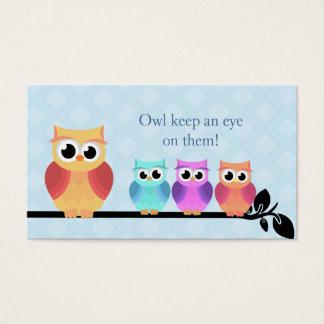 Cartões de visitas da coruja da baby-sitter