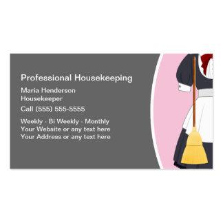 Cartões de visitas da empregada doméstica da empre