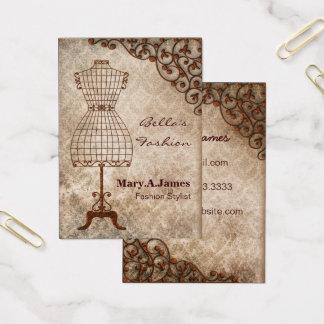 cartões de visitas da forma do manequim do vintage