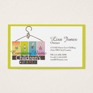 cartões de visitas da loja de roupa das crianças