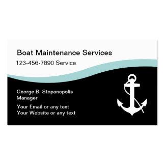 Cartões de visitas da manutenção do barco