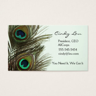 Cartões de visitas da pena do pavão
