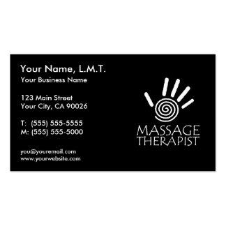 Cartões de visitas da terapia da massagem