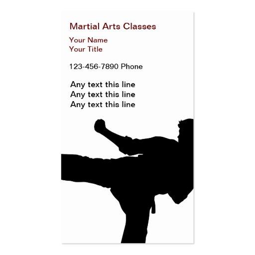 Cartões de visitas das artes marciais