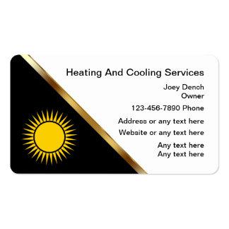 Cartões de visitas de aquecimento e refrigerando