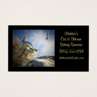 Cartões de visitas de assento do gato & da casa