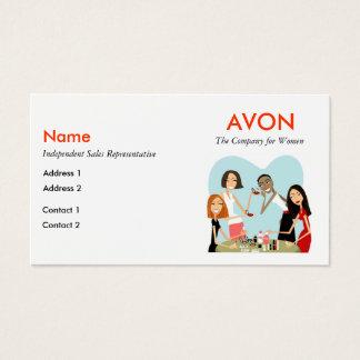 Cartões de visitas de Avon com informação social