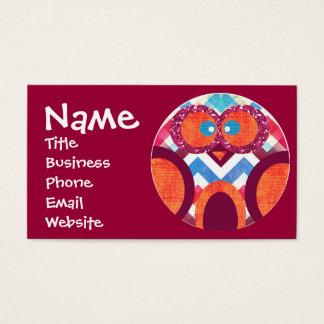Cartões de visitas de Chevron da coruja do brilho