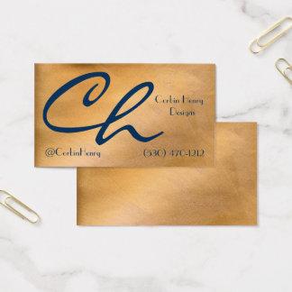 Cartões de visitas de cobre metálicos e do marinho