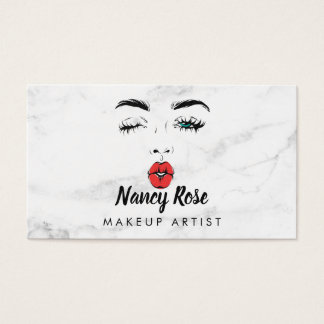 Cartões de visitas de mármore do maquilhador