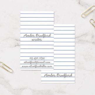 Cartões de visitas de papel alinhados do escritor