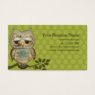 Cartões de visitas de papel da coruja do vintage