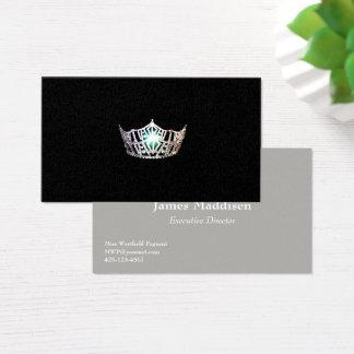 Cartões de visitas de prata da coroa da senhorita