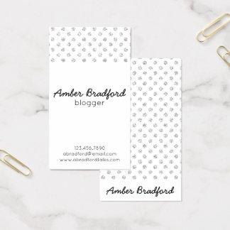 Cartões de visitas de prata de Polkadots do brilho